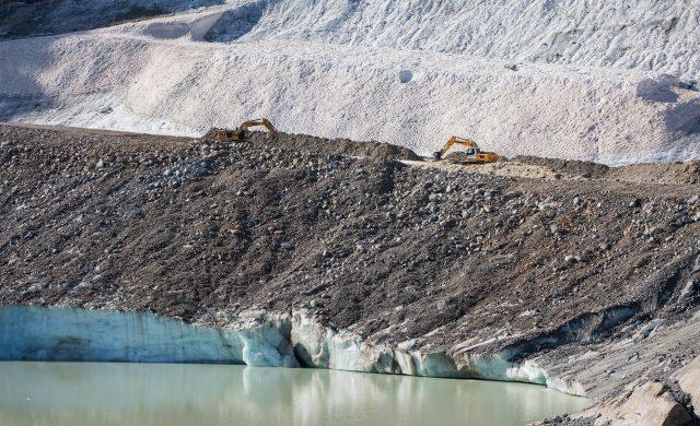 Bauarbeiten in der Gletscher Arena Sölden, September 2020